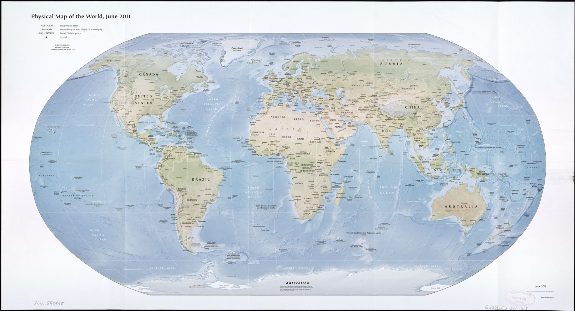 The World Physical Map, June 2011 | Large Printable, HD and Standard Map