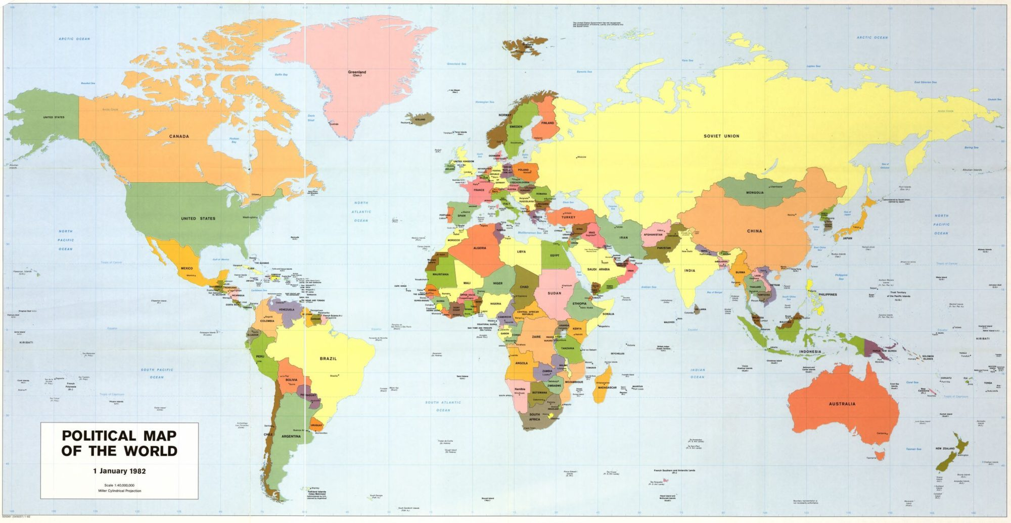The World Political Map    September 1982   Large, Printable Downloadable Map