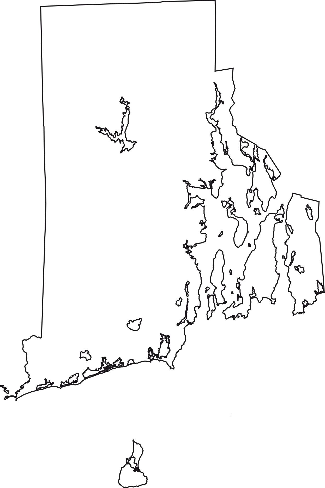 Rhode Island Blank Outline Map | Large Printable Standard Map