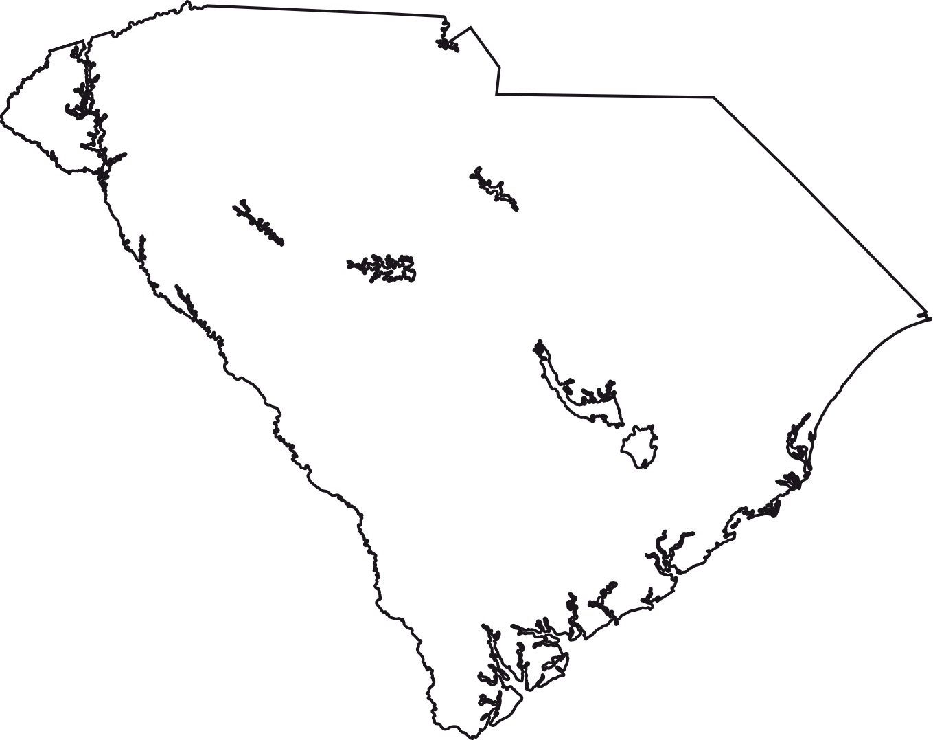 South Carolina blank outline Map | Large Printable High Resolution and Standard Map