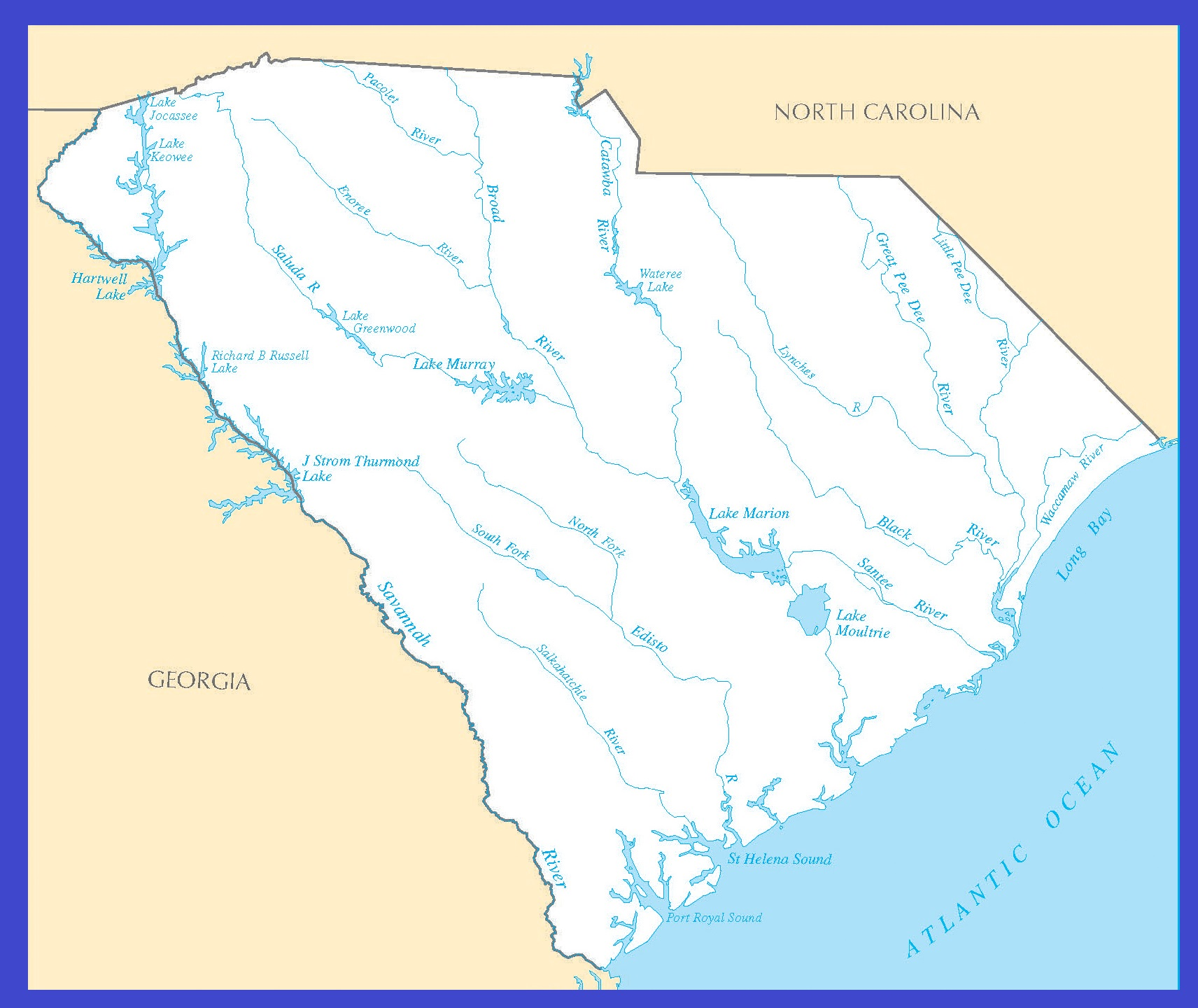 South Carolina Rivers Map | Large Printable High Resolution and Standard Map