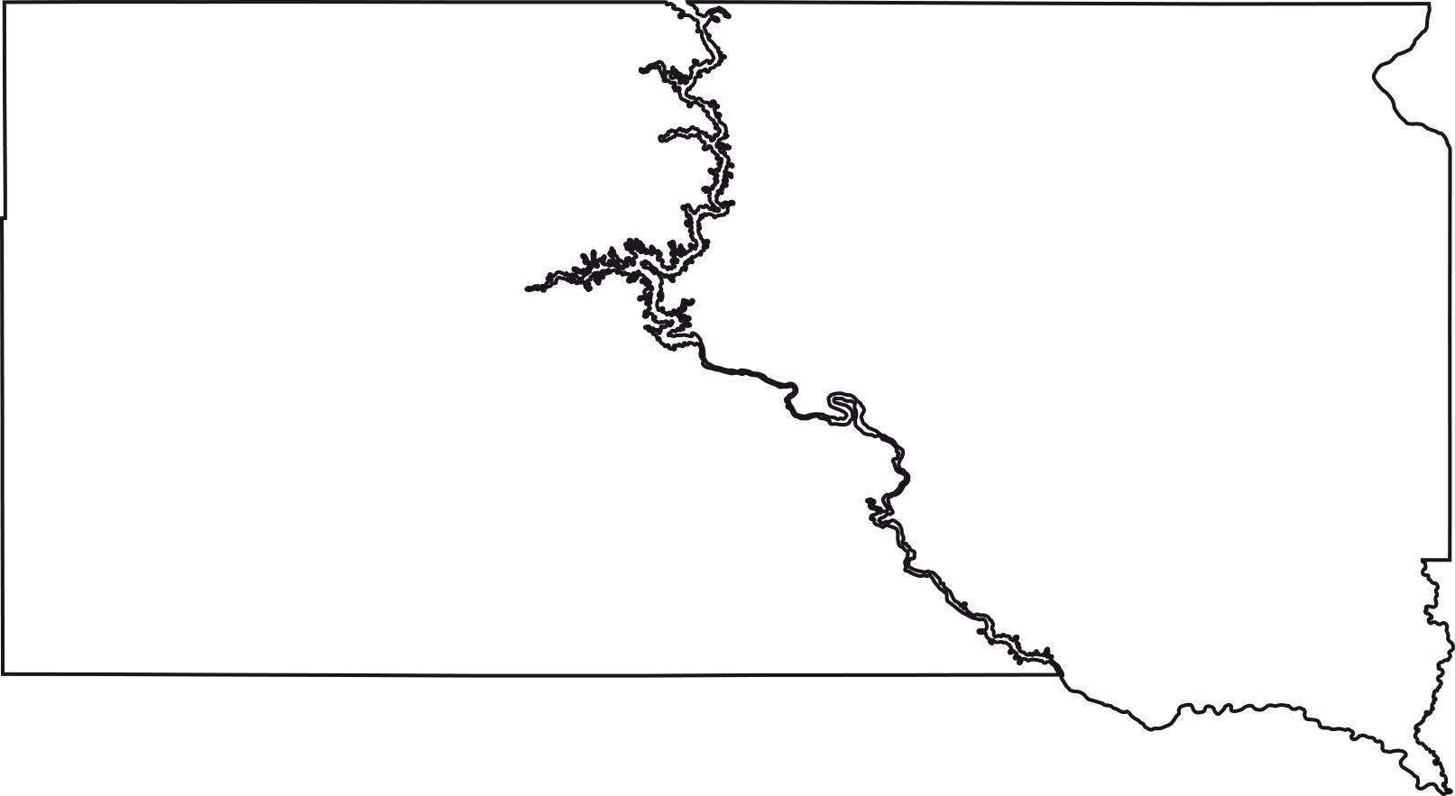 South Dakota Blank Outline Map   Large Printable High Resolution and Standard Map