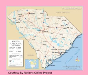 South Carolina Transportation and physical map large printable