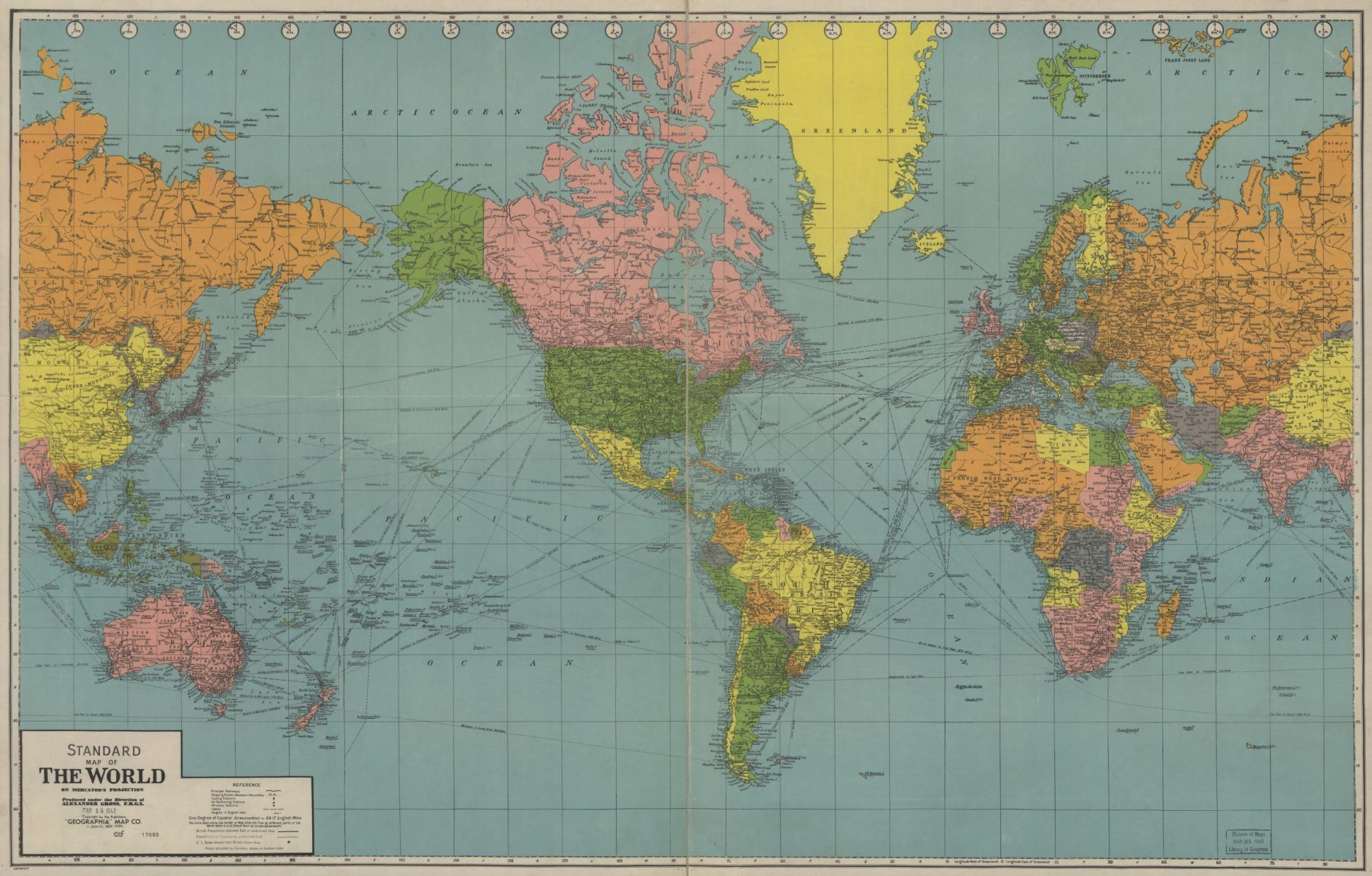 The World Political Map  | 1942 | Large, Printable Downloadable Map