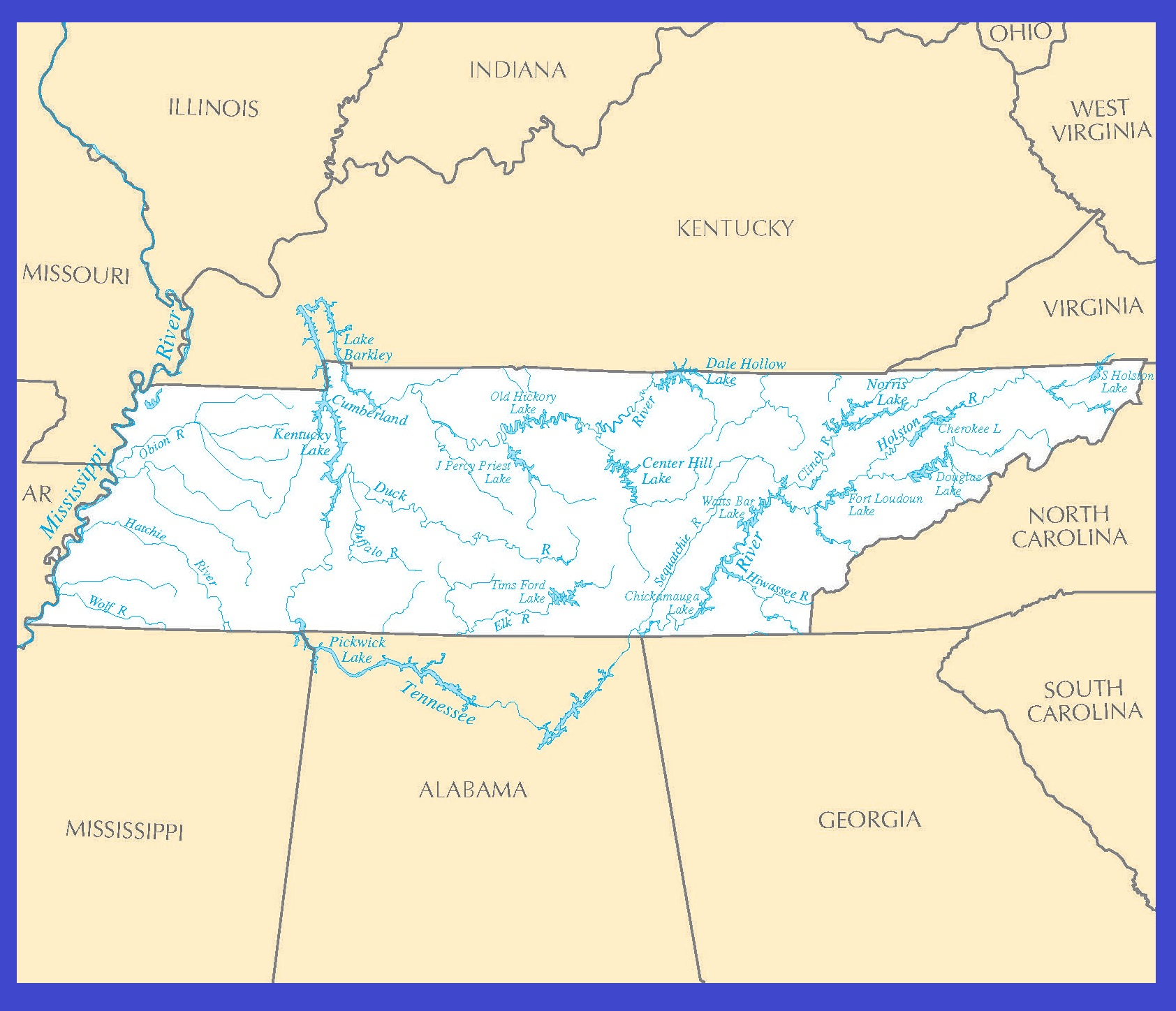 Tennessee Rivers Map | Large Printable High Resolution and Standard Map