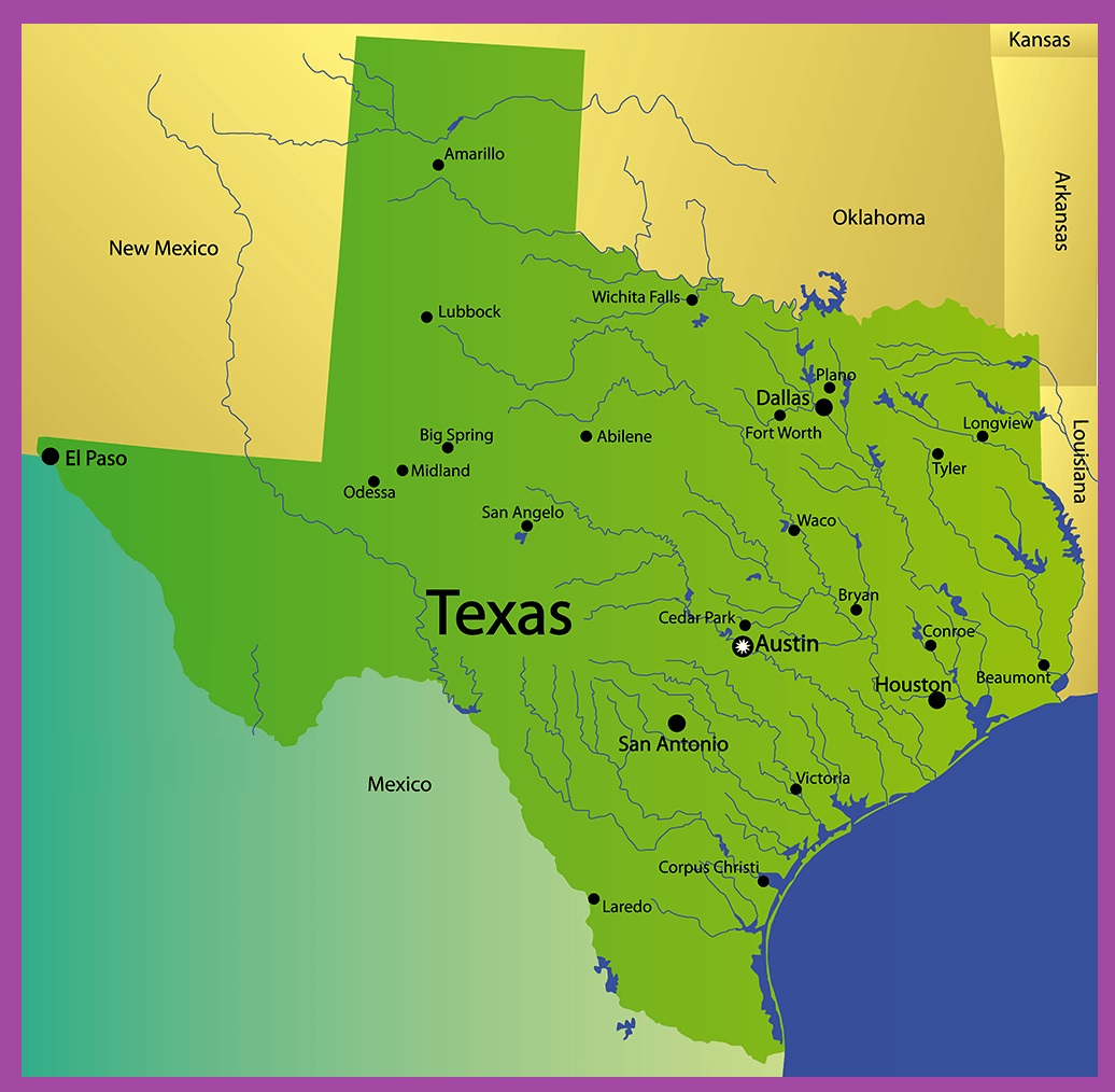 Texas Rivers Map   Large Printable High Resolution and Standard Map