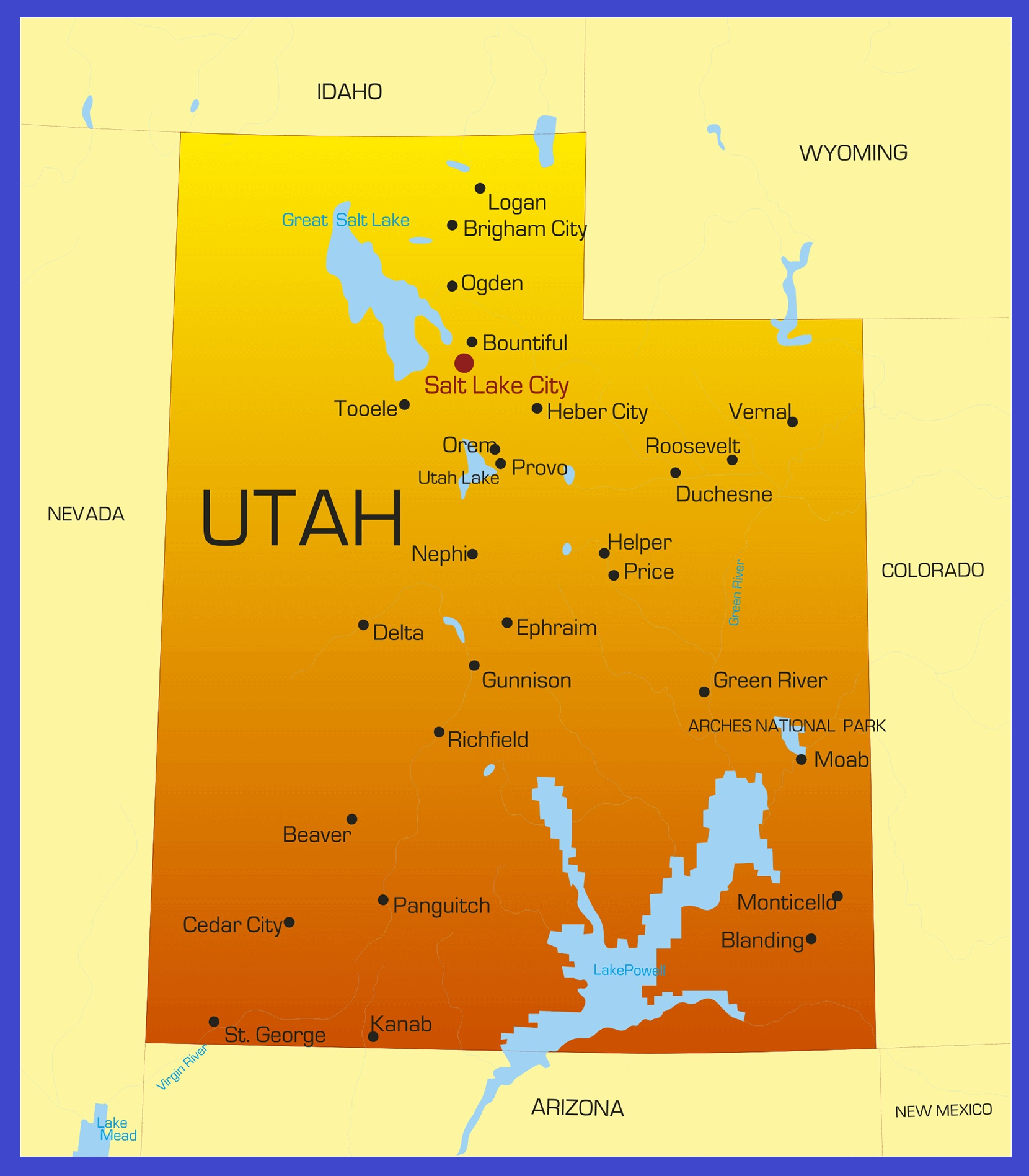 Utah Details Map | Large Printable High Resolution and Standard Map