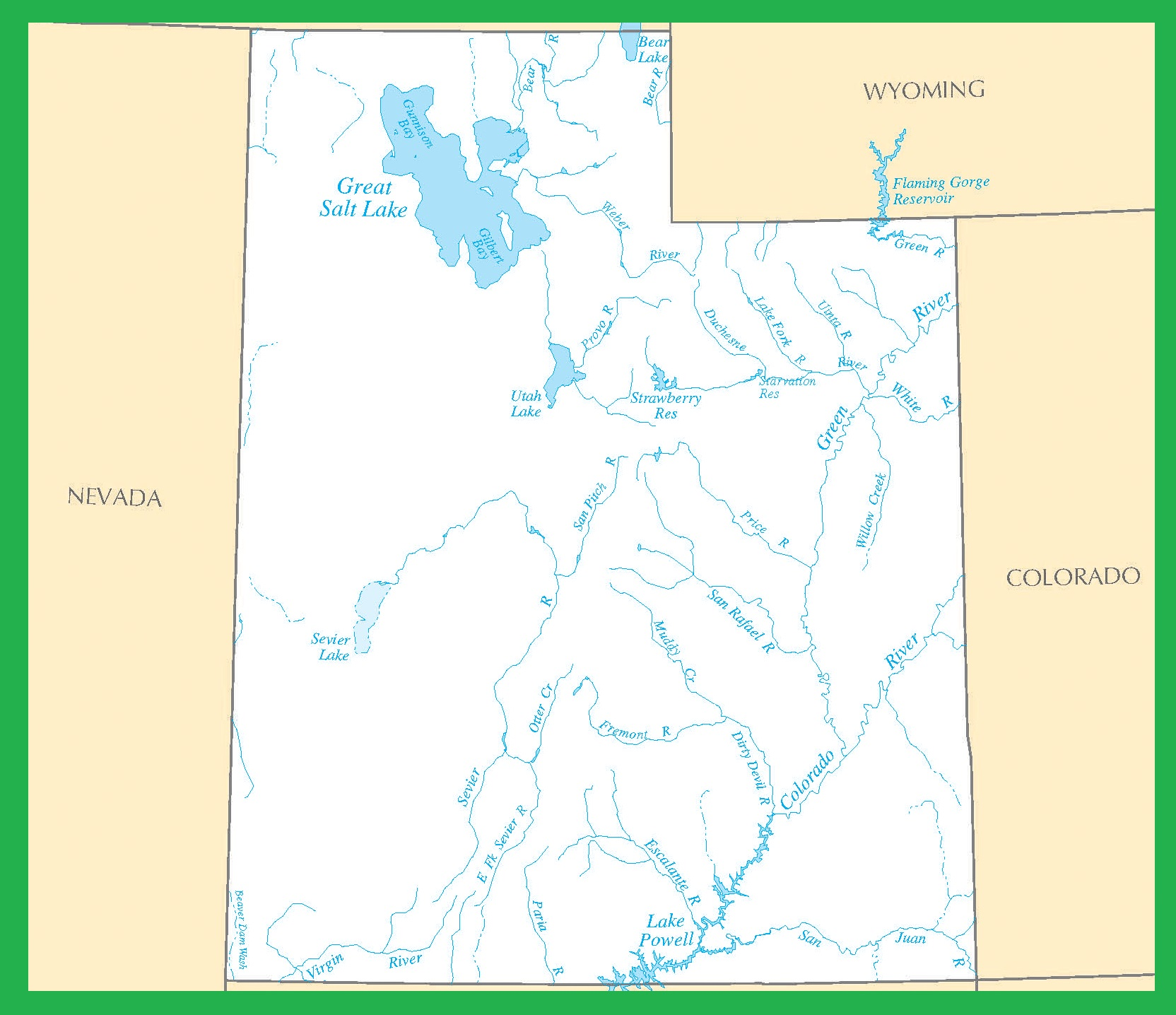 Utah Rivers Map | Large Printable High Resolution and Standard Map