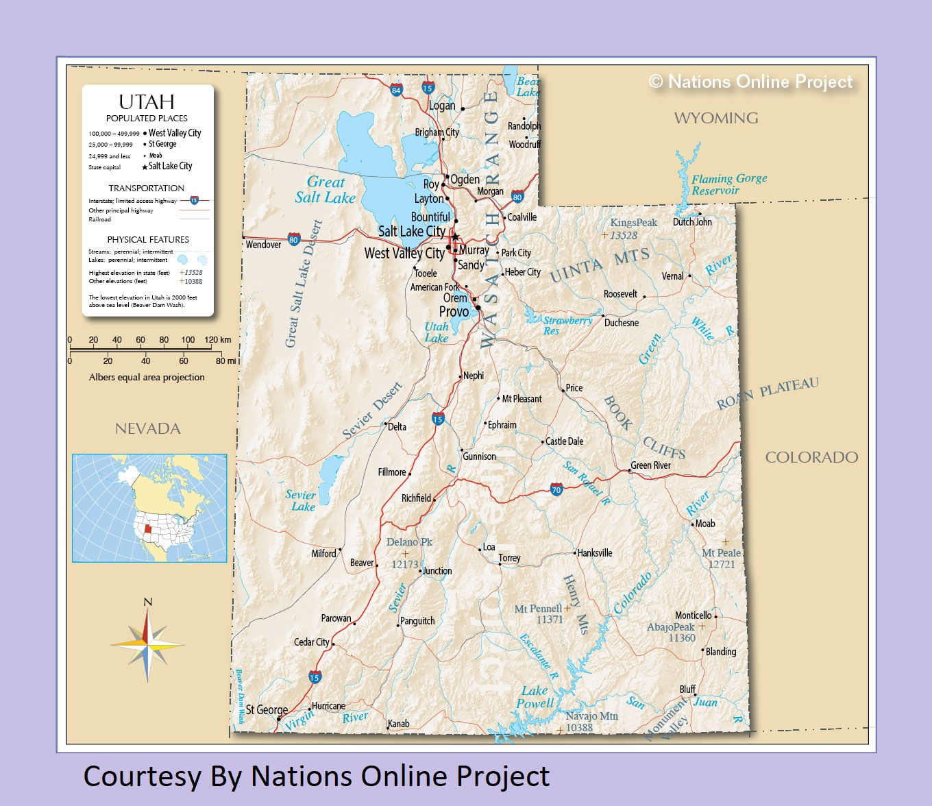 Utah Transportation and physical map large printable