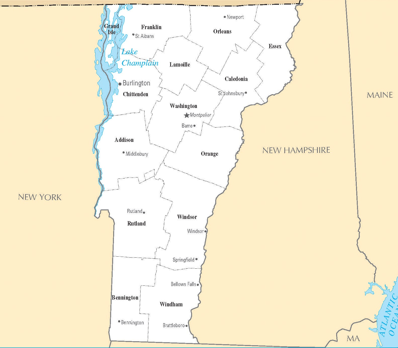 Vermont City Map | Large Printable High Resolution and Standard Map