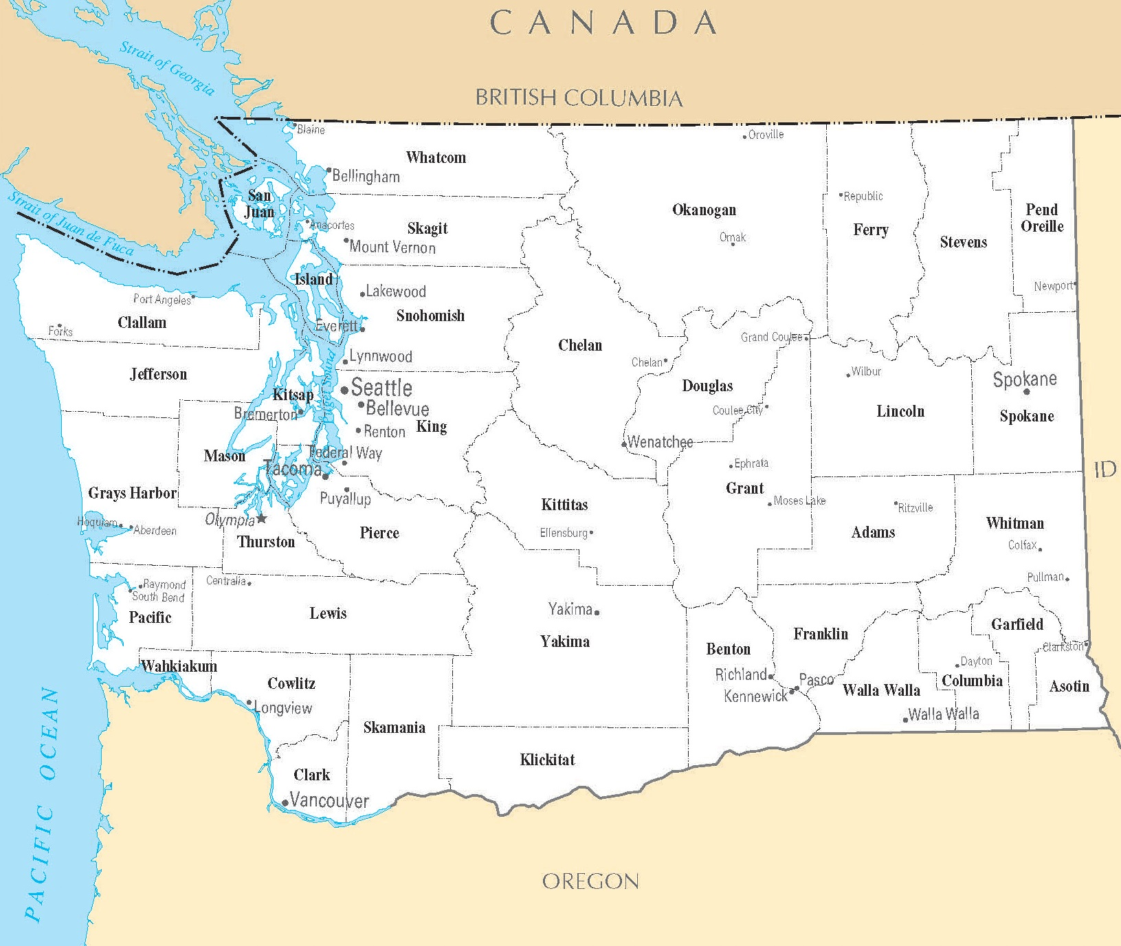 Washington Cities Map | Large Printable High Resolution and Standard Map