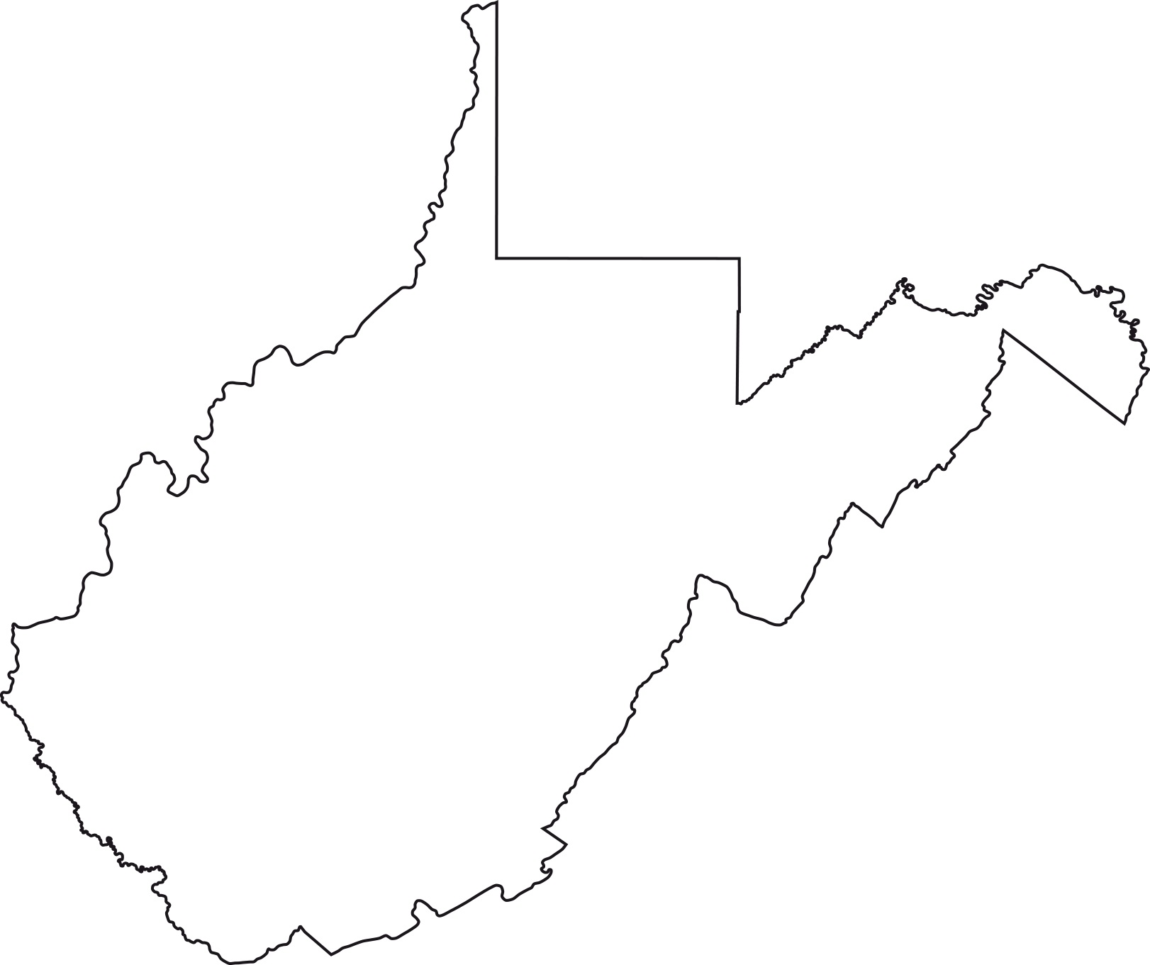 West Virginia blank outline Map | Large Printable High Resolution and Standard Map