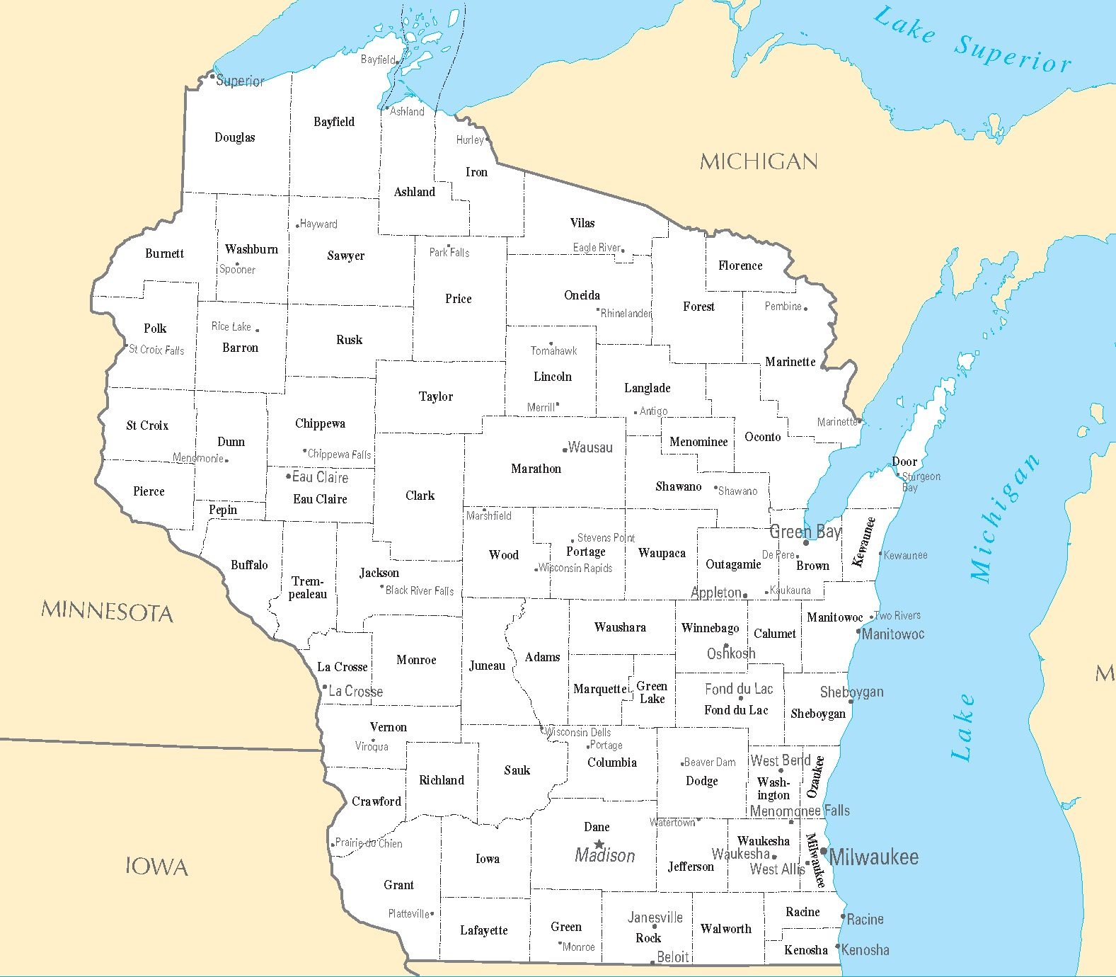 Wisconsin Cities Map | Large Printable HD Map