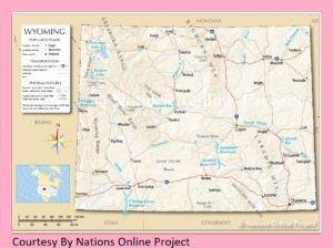 Wyoming Transportation and physical map large printable
