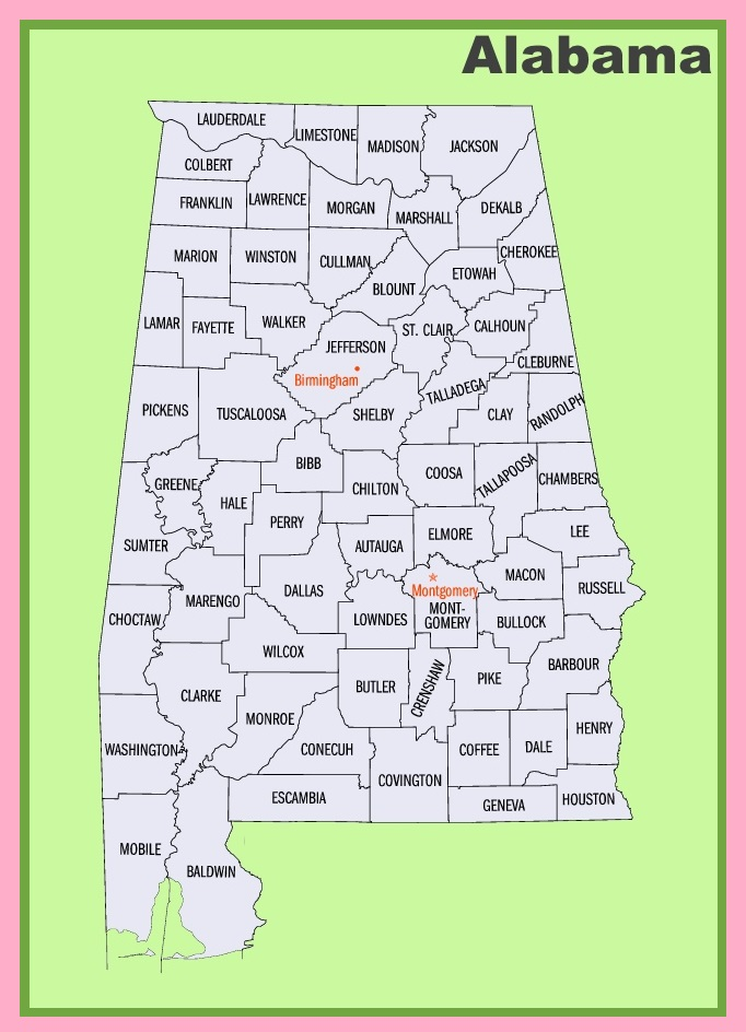 Alabama  County Map |  County Map of Alabama