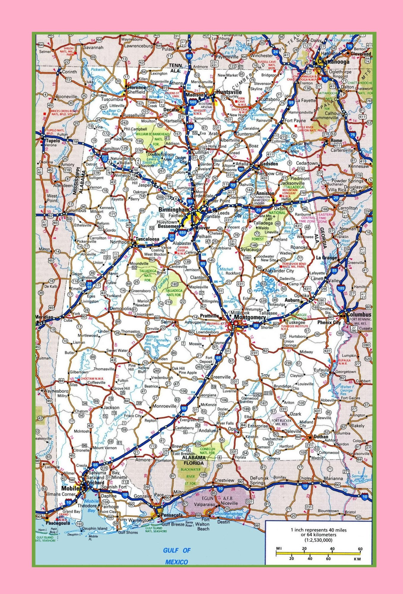 Alabama Large Highway  Map  | Large Highway  Map of Alabama-city-county-political