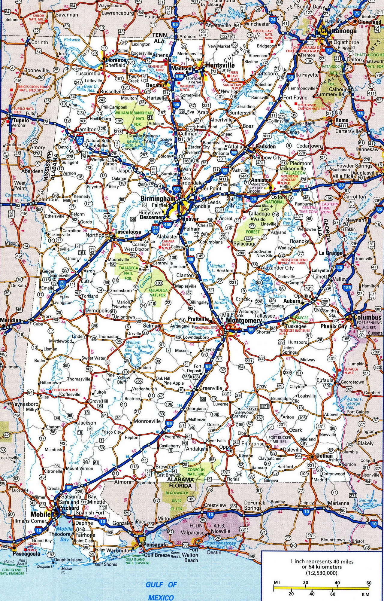 Alabama Road Map | High Resolution Road Map of Alabama