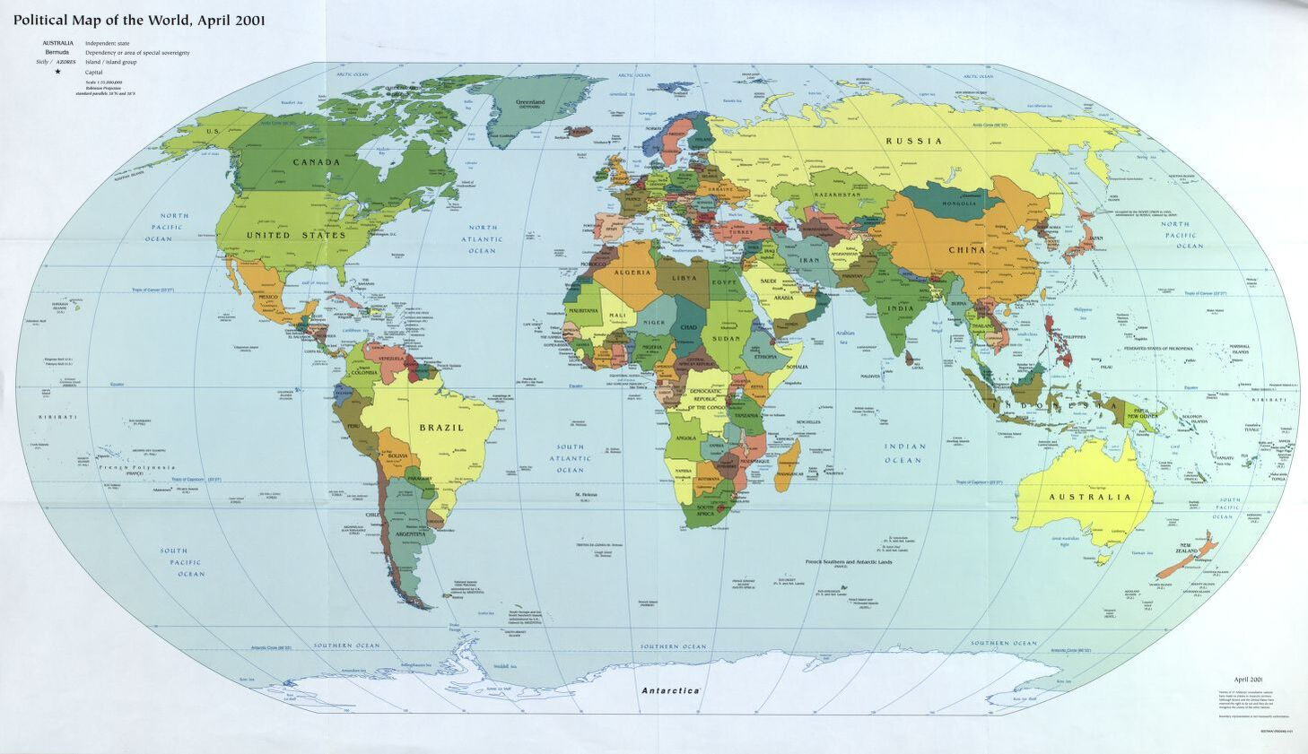 The World Political Map  | April 2001 | Large, Printable Downloadable Map