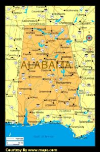Alabama Large Political  Map   Political  Map of Alabama With Capital , city and River lake