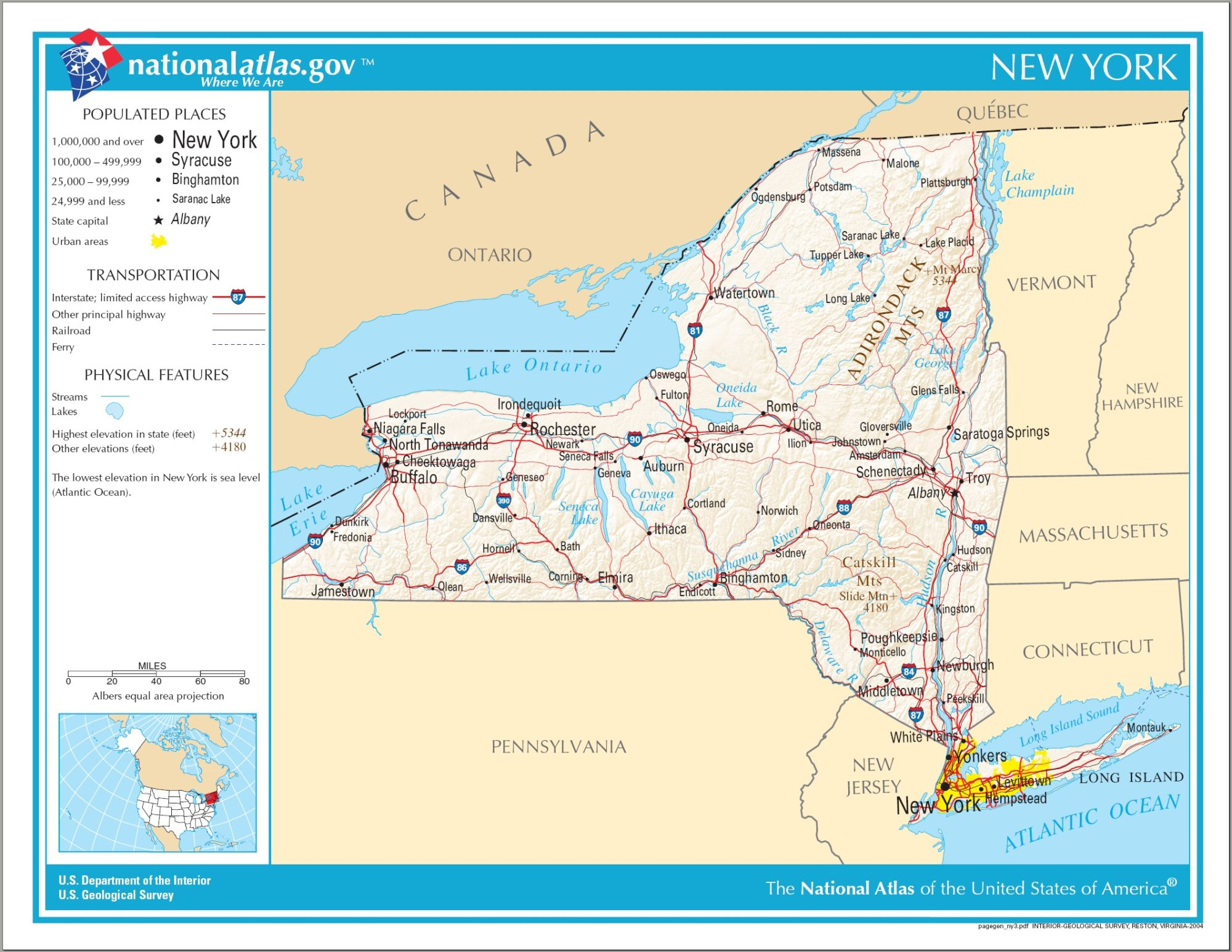 New York Political Map   Large Printable High Resolution and Standard Map