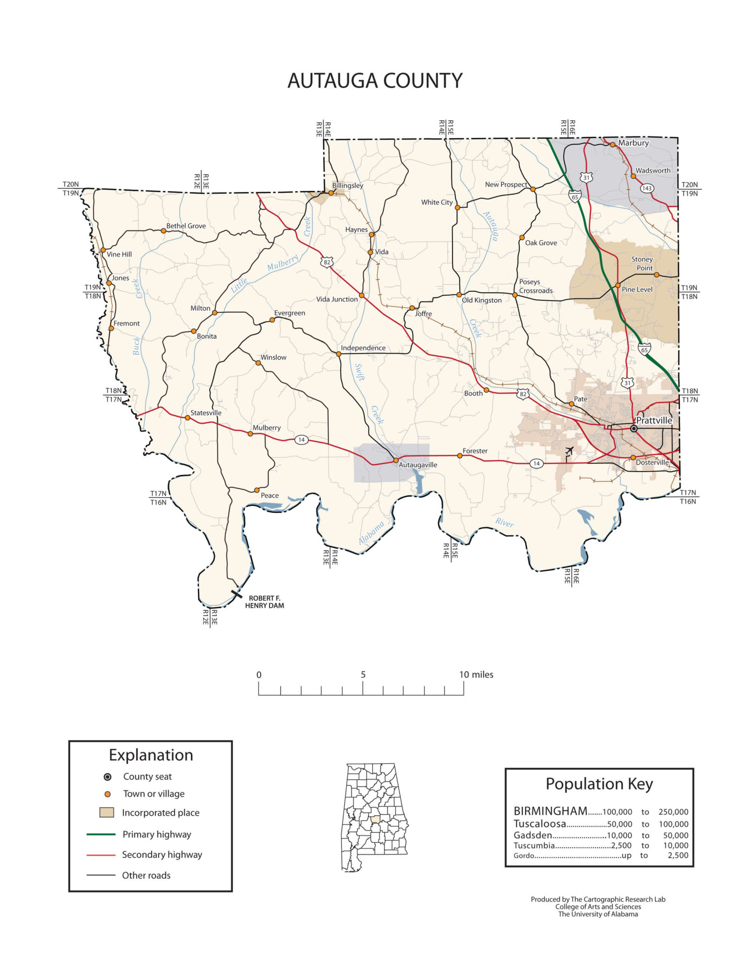 Autauga County Transportation, Road & River Map |  Alabama State – Large, Printable Map