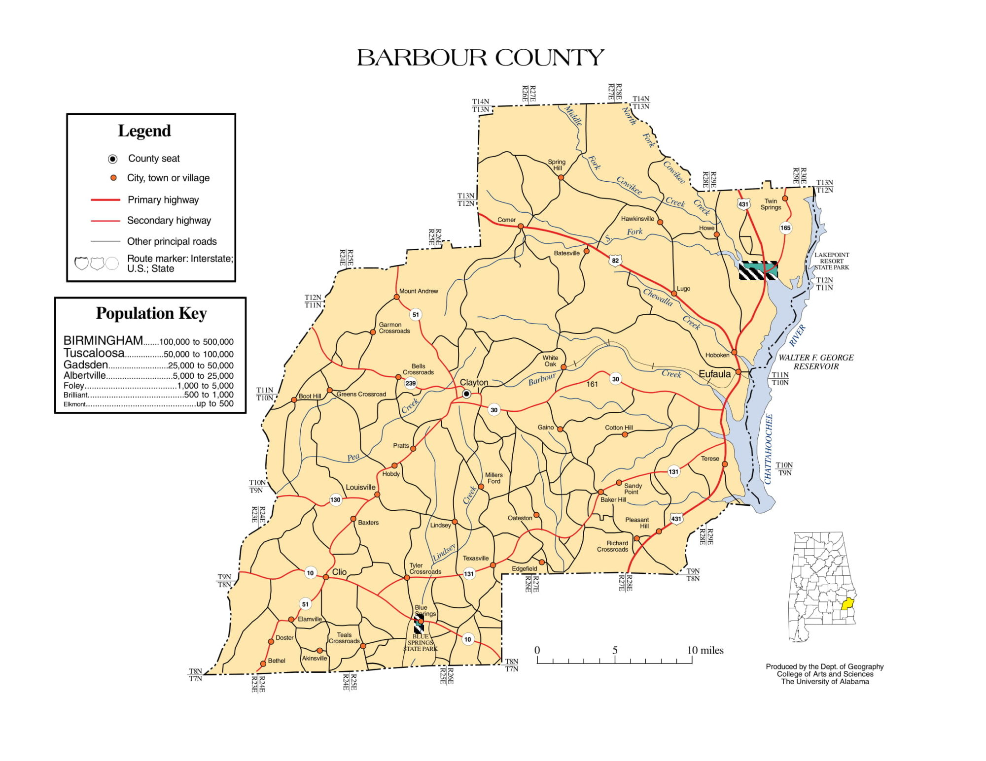 Barbour County Map |  Printable Gis Rivers map of Barbour Alabama