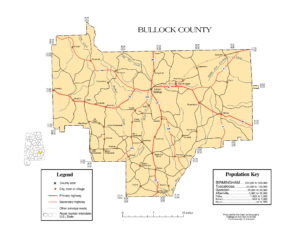 Bullock County Map |  Printable Gis Rivers map of Bullock Alabama