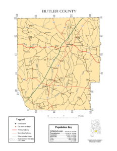 Butler County Map |  Printable Gis Rivers map of Butler Alabama