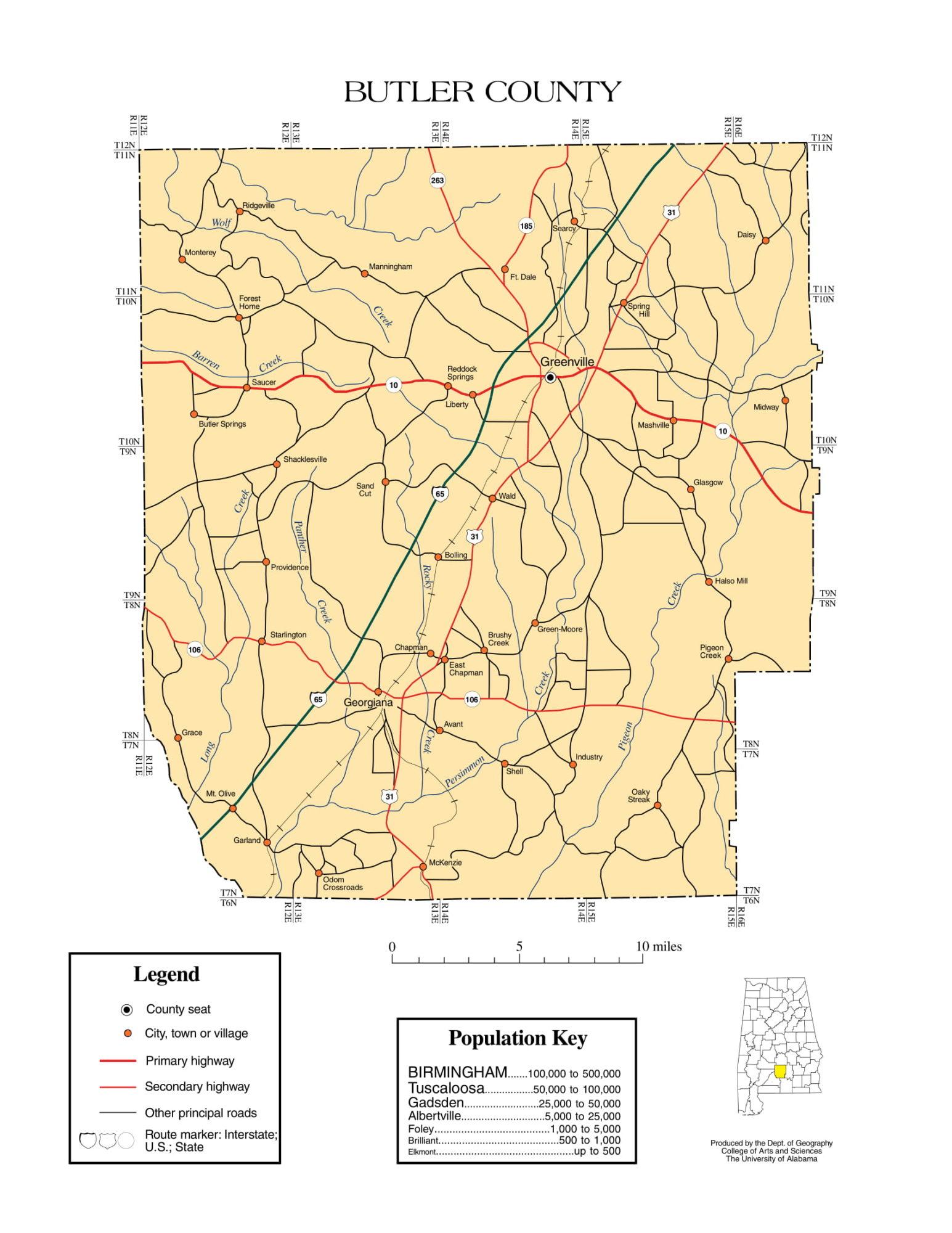 Butler County Map |  Printable Gis Rivers map of Butler Alabama
