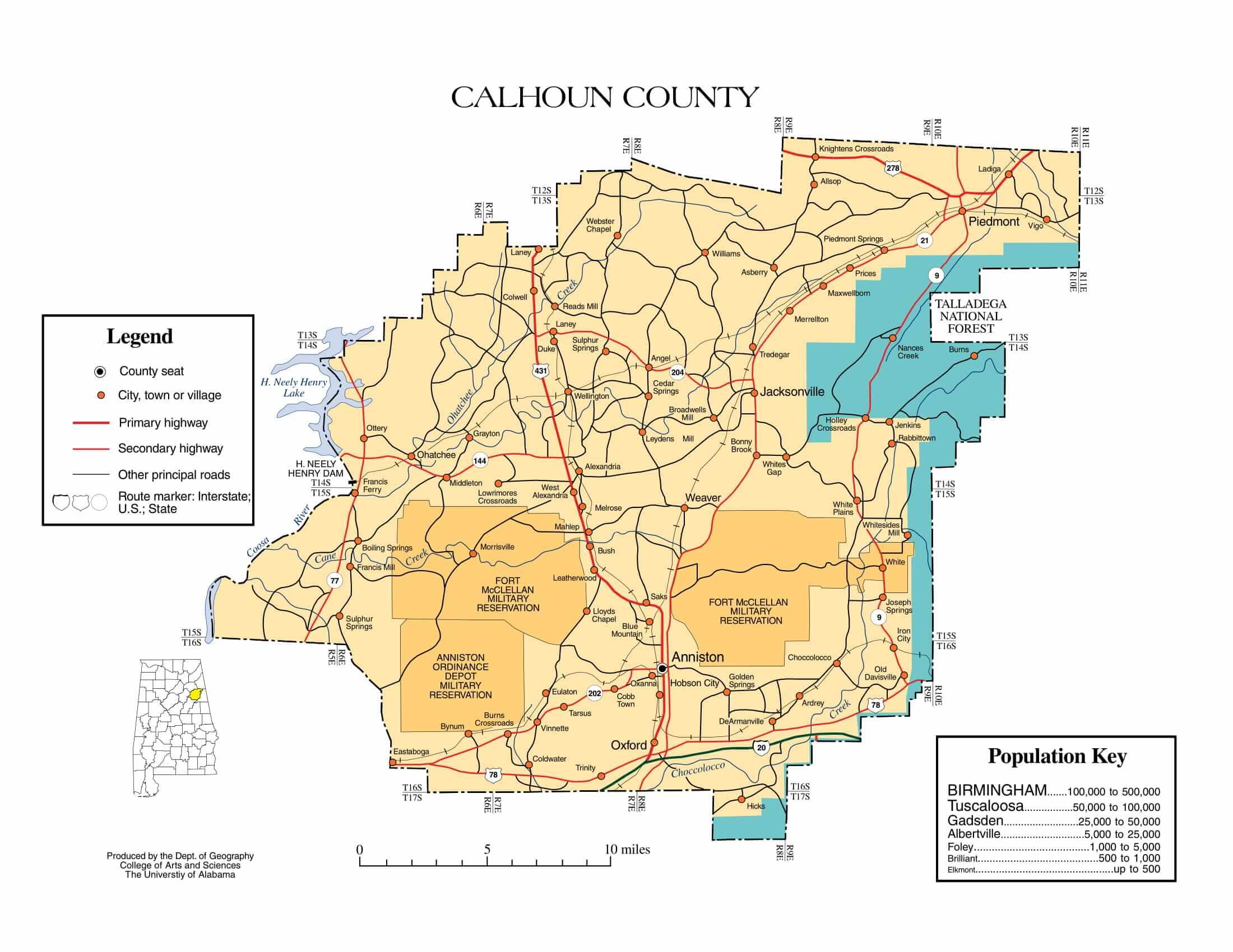 Calhoun County Map |  Printable Gis Rivers map of Calhoun Alabama