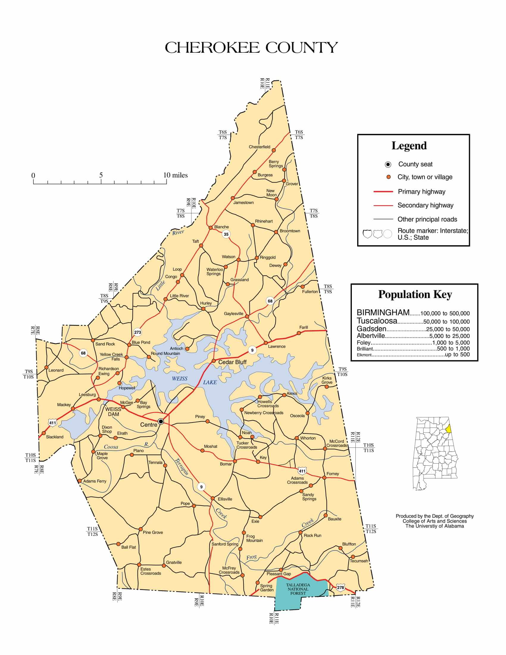 Cherokee County Map |  Printable Gis Rivers map of Cherokee Alabama