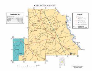 Chilton County Map |  Printable Gis Rivers map of Chilton Alabama