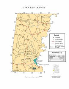 Choctaw County Map |  Printable Gis Rivers map of Choctaw Alabama