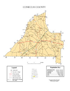 Conecuh County Map |  Printable Gis Rivers map of Conecuh Alabama