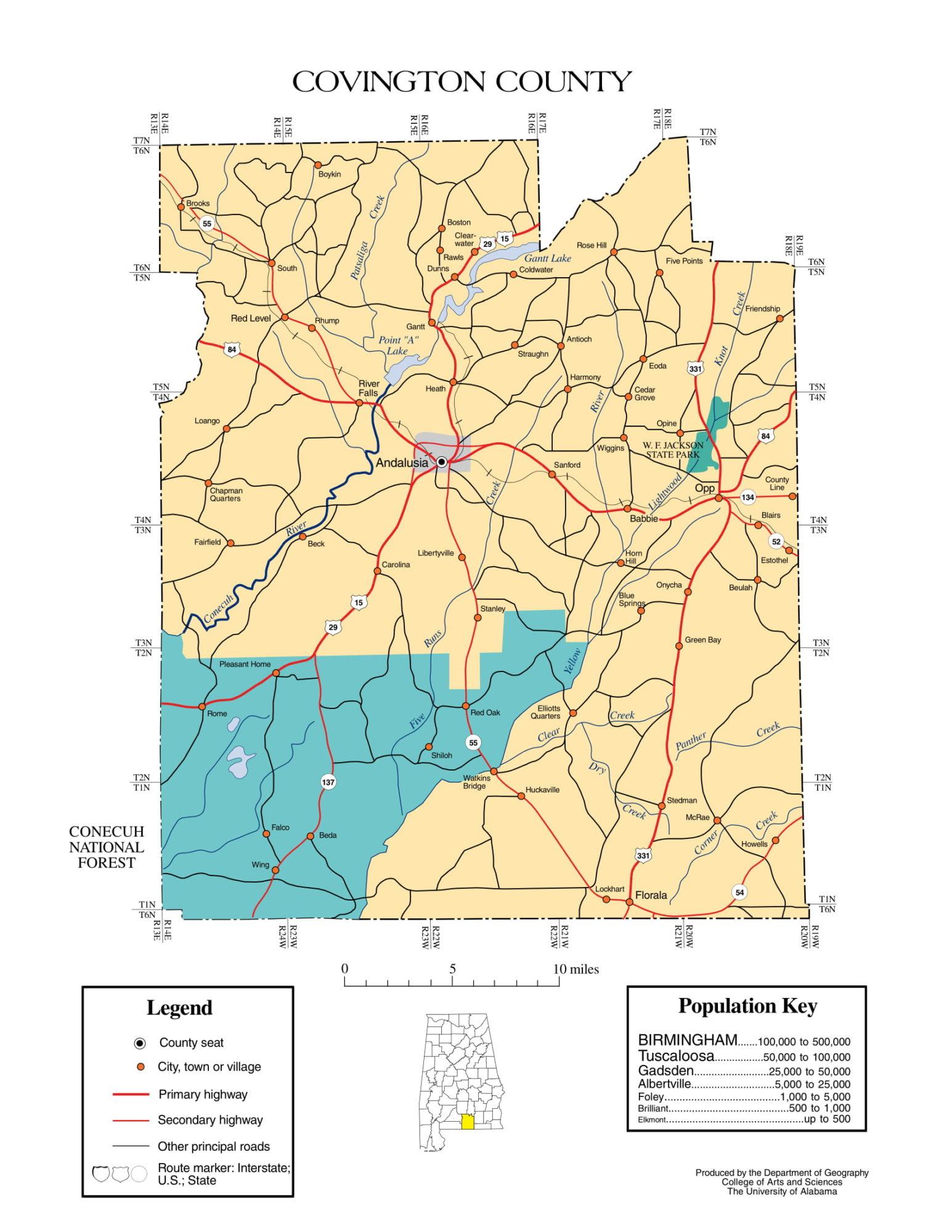 Covington County Map    Printable Gis Rivers map of Covington Alabama