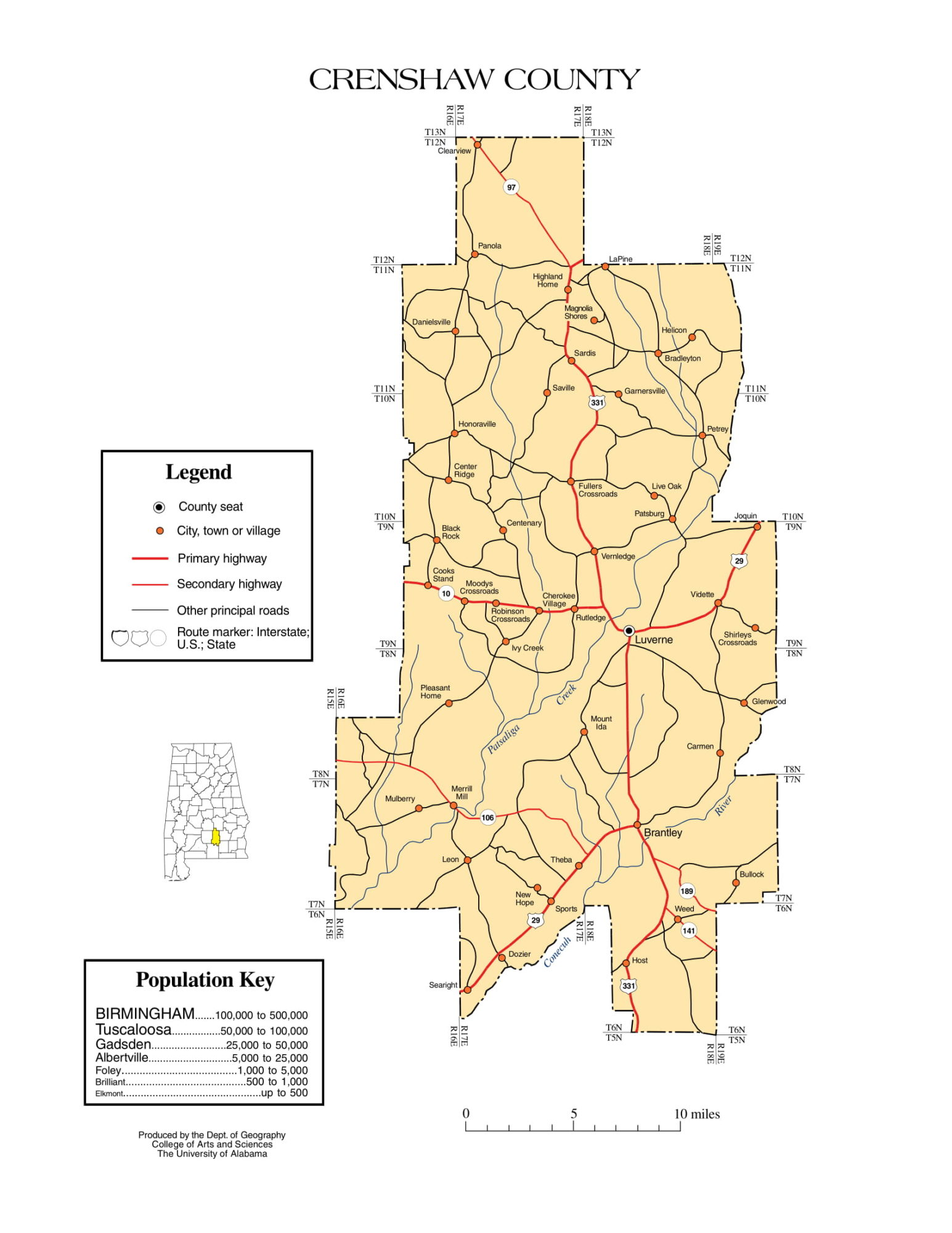 Crenshaw County Map |  Printable Gis Rivers map of Crenshaw Alabama
