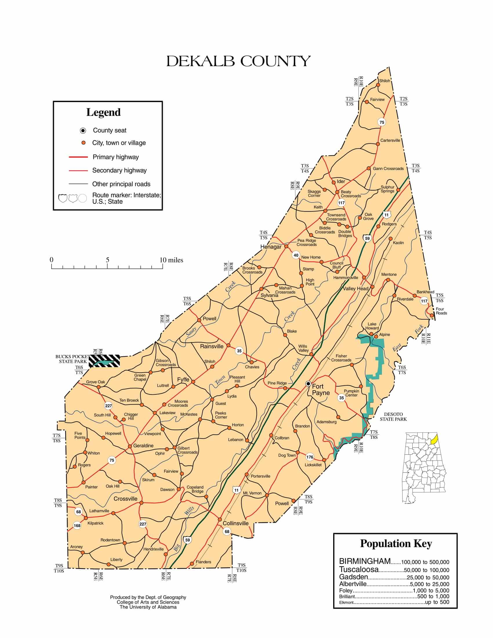 De Kalb County Map |  Printable Gis Rivers map of De Kalb Alabama