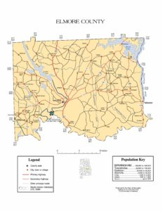 Elmore County Map |  Printable Gis Rivers map of Elmore Alabama