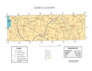 Geneva County Map |  Printable Gis Rivers map of Geneva Alabama