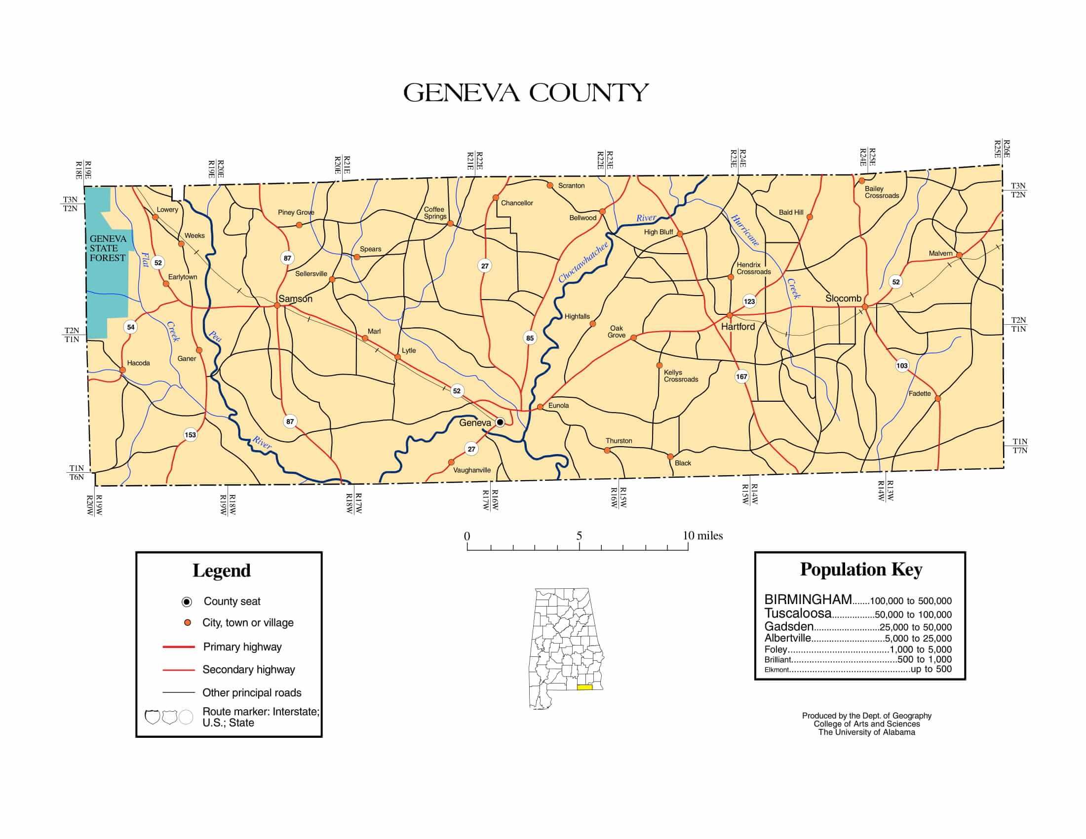 Geneva County Map |  Printable Gis Rivers map of Geneva Alabama