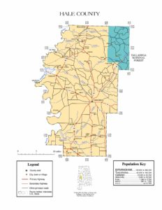 Hale County Map |  Printable Gis Rivers map of Hale Alabama