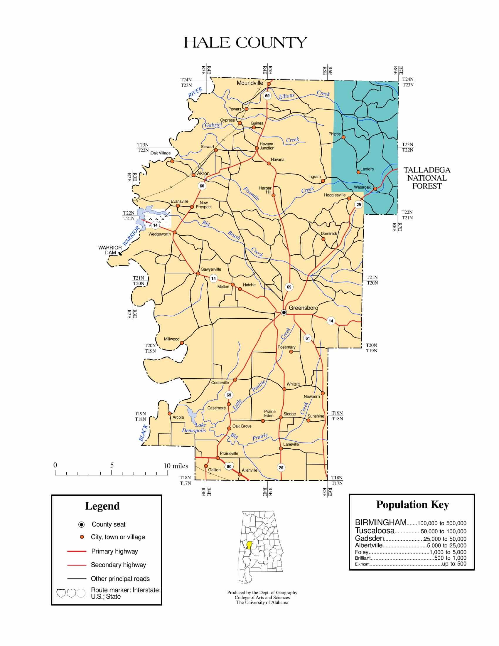 Hale County Map |  Printable Gis Rivers map of Hale Alabama