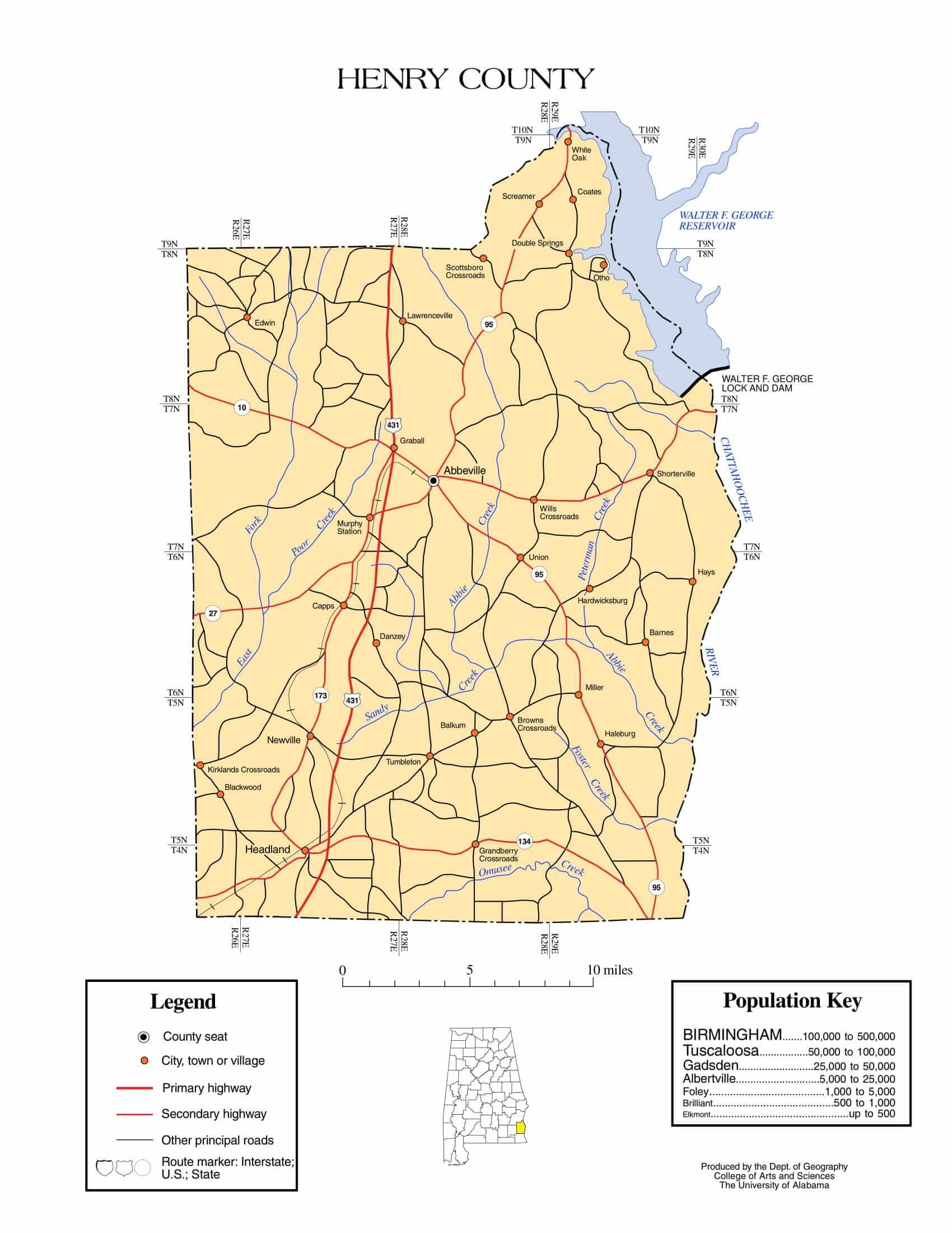 Henry County Map |  Printable Gis Rivers map of Henry Alabama
