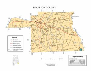 Houston County Map |  Printable Gis Rivers map of Houston Alabama