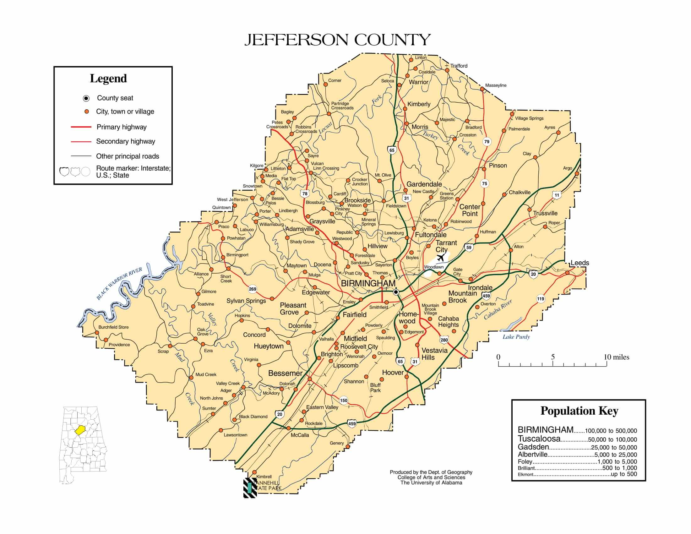 Jefferson County Map |  Printable Gis Rivers map of Jefferson Alabama