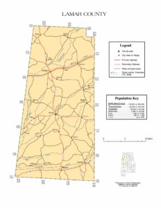 Lamar County Map |  Printable Gis Rivers map of Lamar Alabama