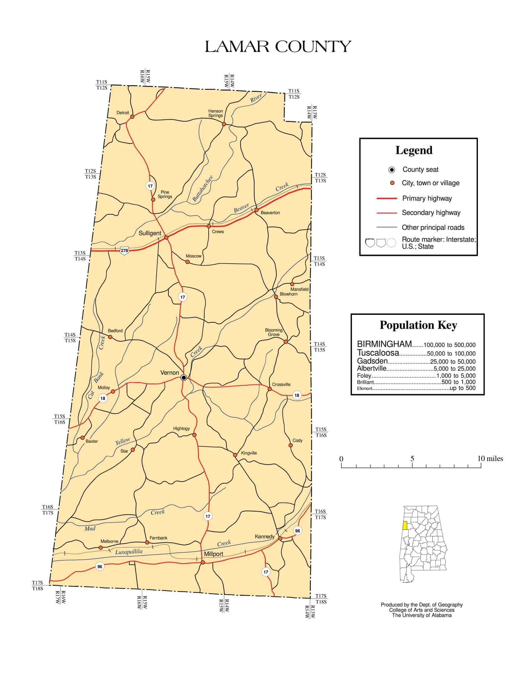 Lamar County Map |  Printable Gis Rivers map of Lamar Alabama