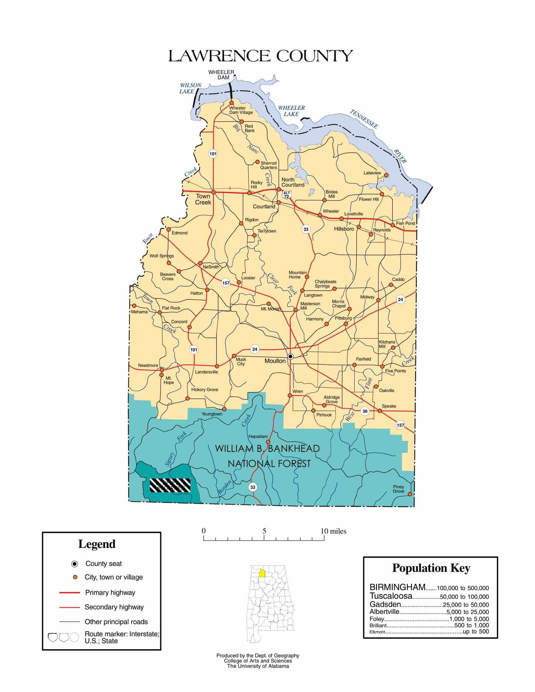 Lawrence County Map |  Printable Gis Rivers map of Lawrence Alabama