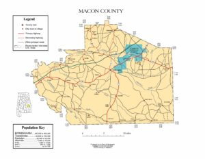 Macon County Map |  Printable Gis Rivers map of Macon Alabama
