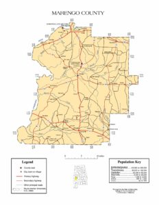 Marengo County Map |  Printable Gis Rivers map of Marengo Alabama